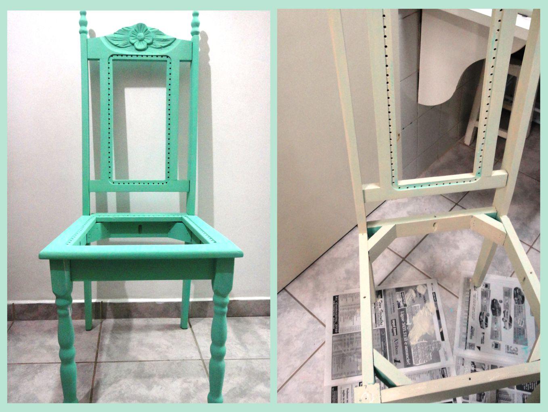 Após aplicação e secagem da tinta bege a cadeira foi sendo lixada  #2E9D82 1358x1021