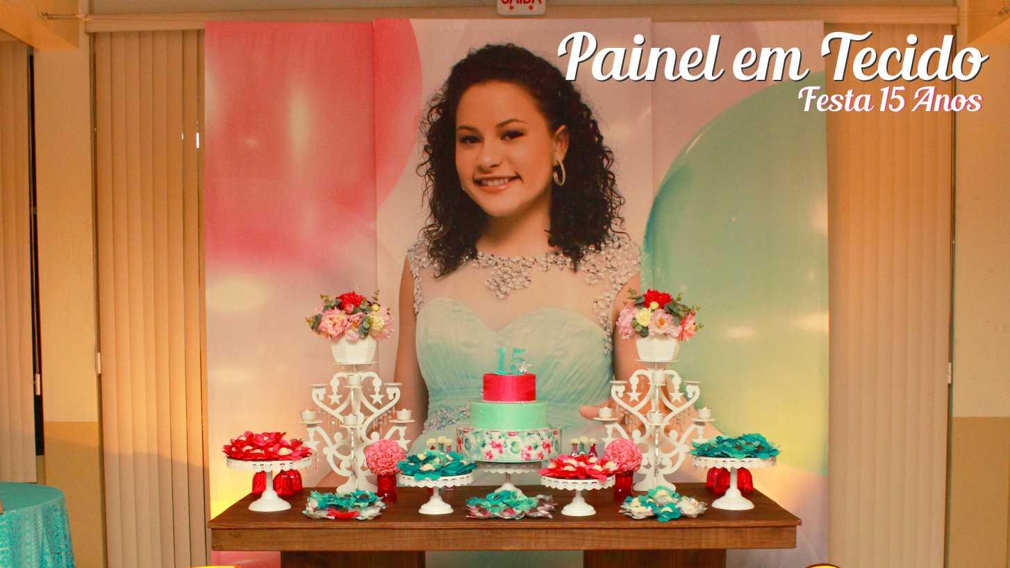 Painel em tecido - Festa 15 anos