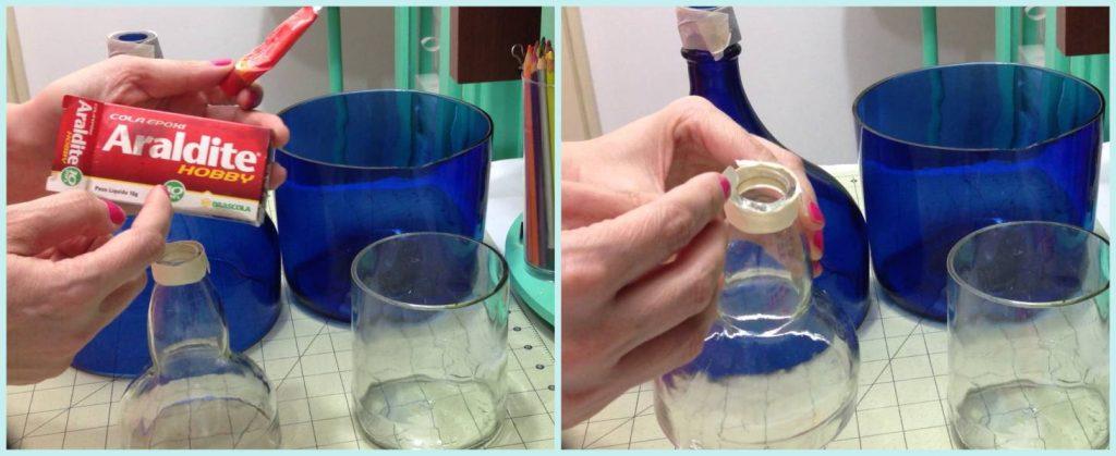 Vaso com garrafa de vidro 3