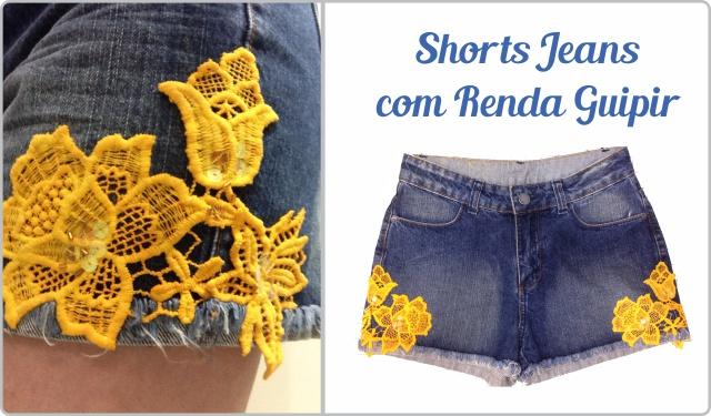 Shorts com renda guipir