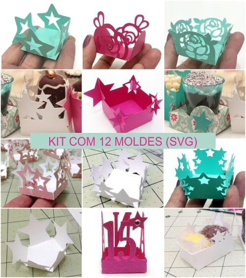 Kit com 12 moldes de forminhas de papel de scrap