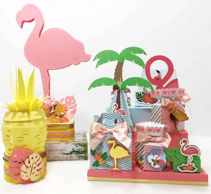 Decoração no tema flamingo